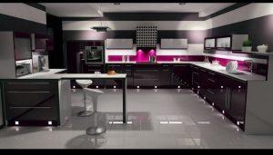آشپزخانه مدرن با کابینت های گلاس رنگ بنفش مناسب آشپزخانه ایرانی