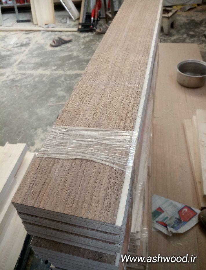 تولید کفپوش چوب گردو، اجرای لایه ای با ضخامت 5 میلیمتر بر روی ورق 7 لایی مقاوم در برابر رطوبت