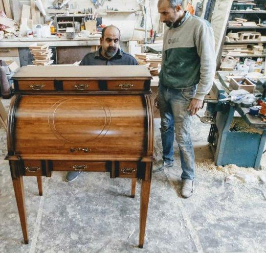 میز تحریر کلاسیک , میز تحریر رول تاپ , ساخت میز تحریر کلاسیک ایتالیایی