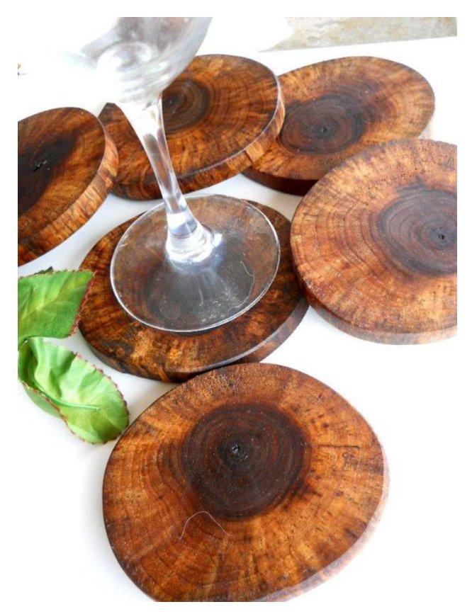 تکه های چوبی زیبا و تزئینی برای زیر ظروف و لیوان