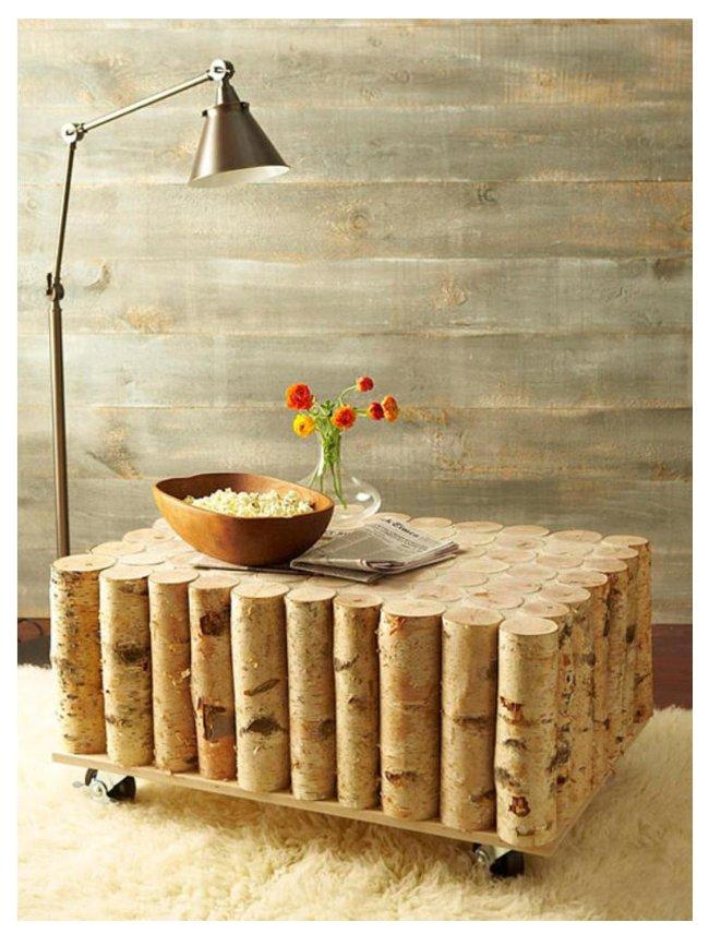 میز چرخدار جالب چوبی ساخته شده از شاخه درخت