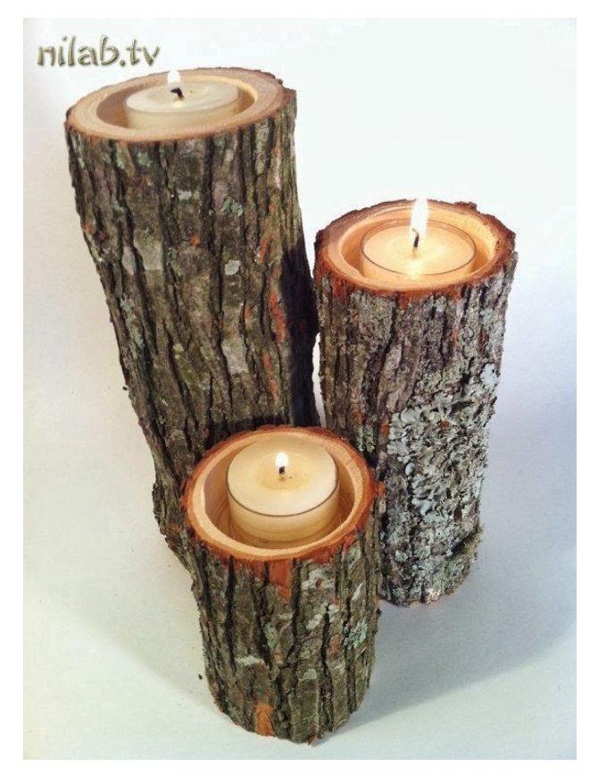 جا شمعی ساخته شده از چوب