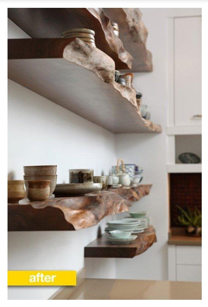 شلف آشپزخانه چوبی از اسلب چوب طبیعی