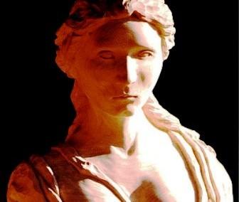 تندیس و مجسمه بلا تنه از یک زن بر روی چوب یک تکه