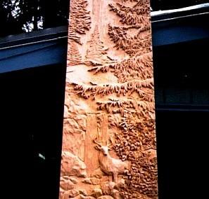 تابلو تمام کنده کاری شده بر روی چوب منظره کوهستان جنگلی