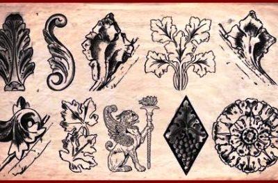 نقاشی برگ ، شاخه ، سمبل ، صورت و حیوان طرح و ایده ، الگو برای آموزش منبت روی چوب