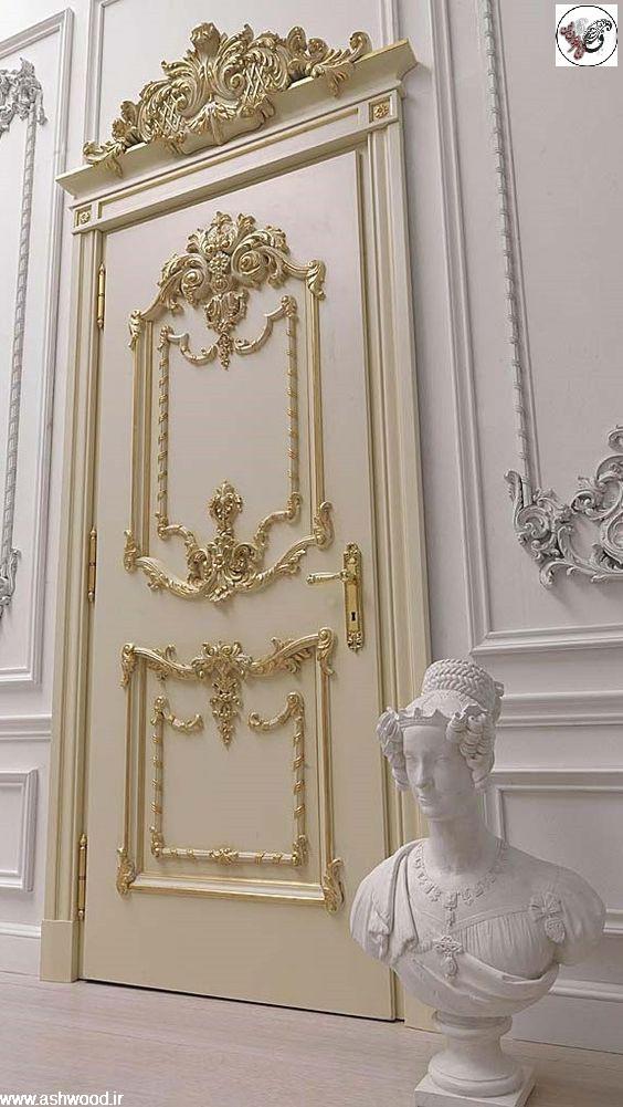 درب کلاسیک سفید طلایی ، رنگ پلی یورتان استخوانی