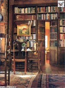 نمونه رنگ کتابخانه چوبی , پالت رنگ