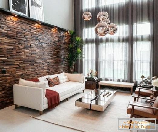 تزئین دیوارکوب چوبی در دکوراسیون داخلی , نورپردازی لمبه کوبی , اجرای نوار فلزی روی دیوار چوبی