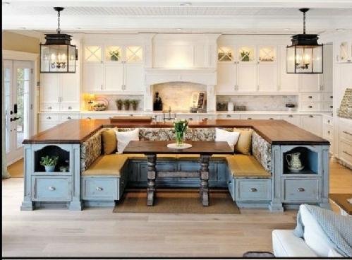 ایده یک جزیره در دکوراسیون آشپزخانه از یک میز و صندلی ناهارخوری