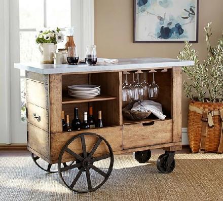 میز پرتابل آشپزخانه، میز چرخدار بار، میز بار متحرک آشپزخانه