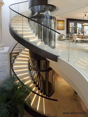 پله چوبی طراحی معاصر