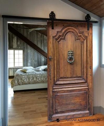 درب چوبی قدیمی برای اتاق خواب , مدل های آنتیک و ماندگار