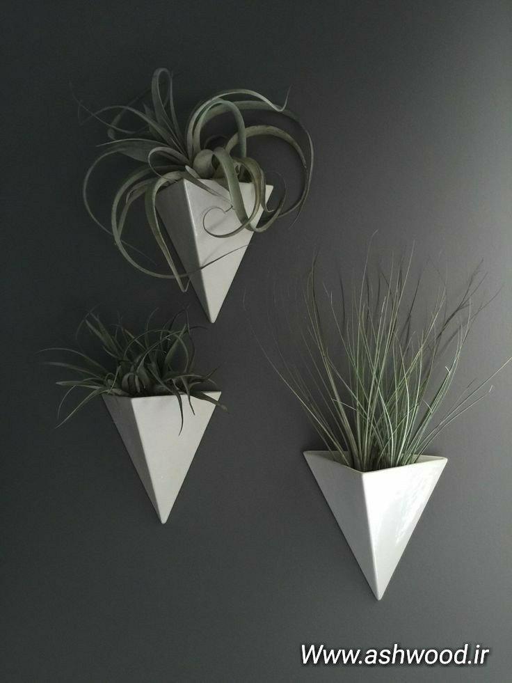 جای گلدان چوبی مثلثی