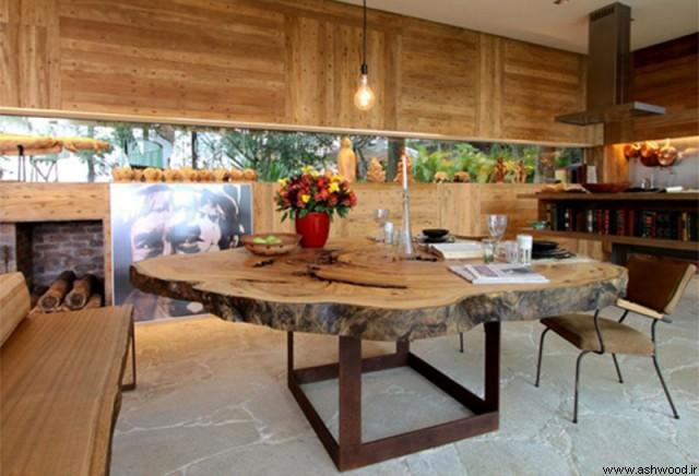 سبک روستیک دکوراسیون داخلی منزل , تزیینات چوبی منزل , تزئینات چوبی , دکور چوب