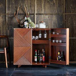 میز کنسول چوبی , میز بار , بوفه ویترین , ساخت دکوراسیون چوبی