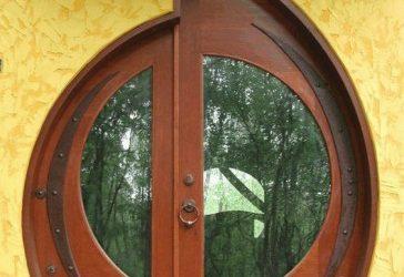 مدل درب چوبی قاب بیضی و دایره