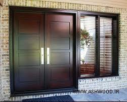 مدل درب چوبی ورودی شیشه خور