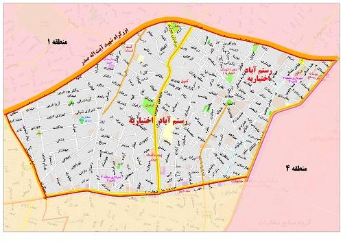 محله رستم اباد ، اختیاریه از شمال به بزرگراه صدر ، از جنوب به خیابان شهید کلاهدوز ، از غرب به بزرگراه کاوه  و از شرق به خیابان پاسداران منتهی میشود