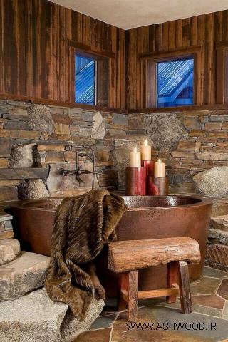 کلبه چوبی , دکوراسیون روستیک چوبی