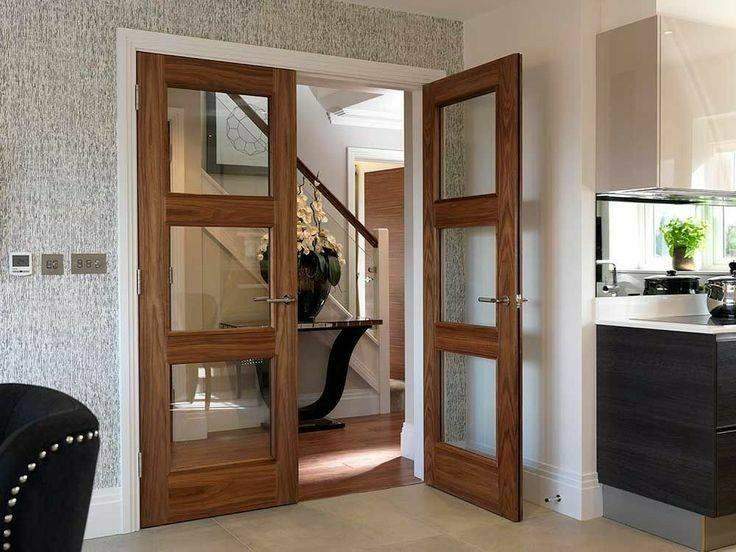 مدل درب چوبی اتاقی شیشه خور چوب بلوط