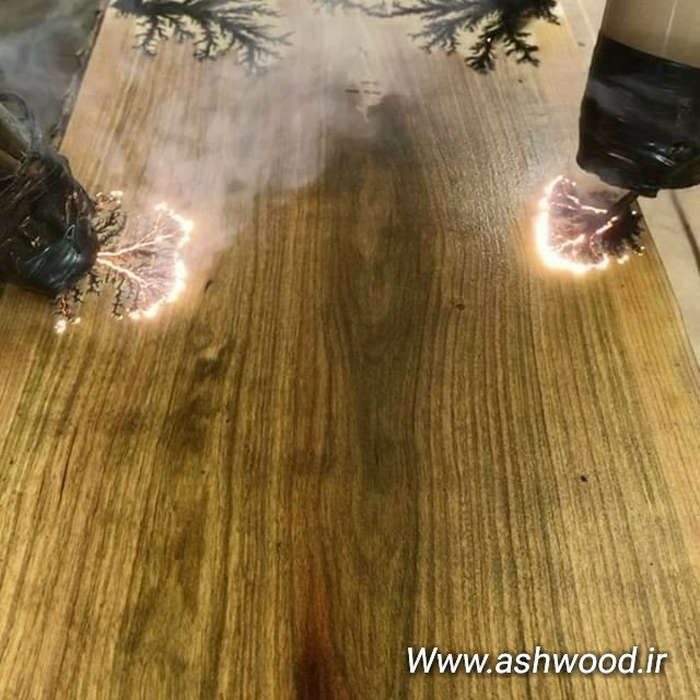 استفاده از جریان برق جهت سوزاندن آوند های چوب