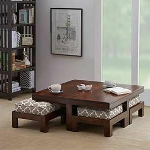 میز چوبی جلو مبلی و میز قهوه خوری