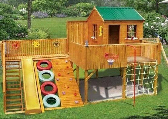 وسایل بازی در محوطه حیاط , کلبه بازی کودک رویایی , کلبه چوبی برای بازی کودکان
