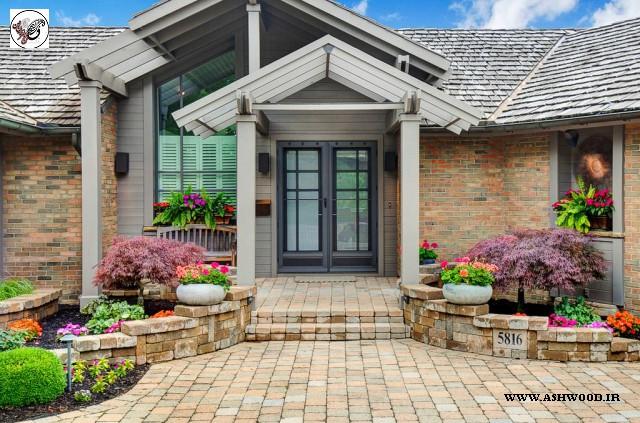درب چوبی جلو ساختمان ویلایی , درب چوبی سبک معاصر