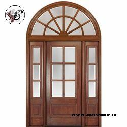 درب چوبی ورودی ساختمان , در چوبی قوس دار