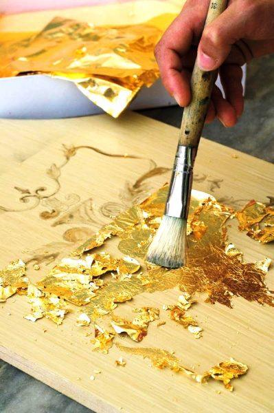 ورق طلا در نقاشی چوب