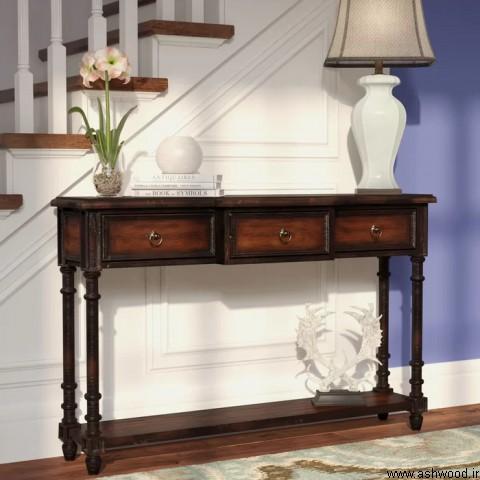 محبوب ترین دکوراسیون چوبی ,  میز و صندلی , میز کنسول چوب طبیعی