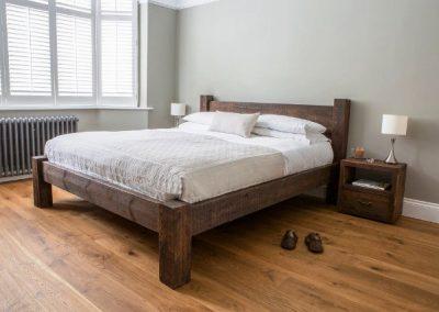 سرویس خواب روستیک , تخت خواب تمام چوب روستیک