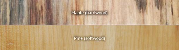 چوب نرم-  مقایسه بافت چوب سخت (بالا) و نرم (پایین)