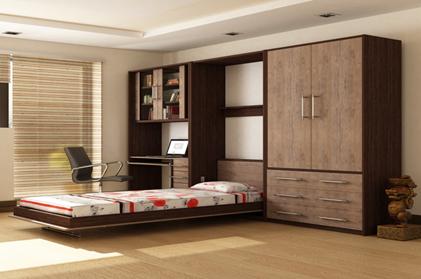 نمونه ای از کمد چوبی به همراه تخت خواب