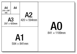 ابعاد استاندارد کاغذ ارائه شده است، کاغذ A4 بسیار متداول..