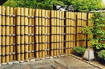 استفاده از ساقه بامبو به عنوان دیوار