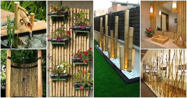 دکوراسیون فضای باز ساخته شده از چوب بامبو