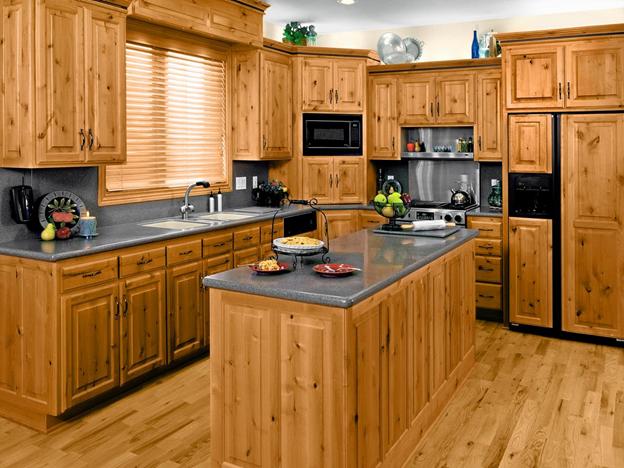 ساخت انواع کابینت آشپز خانه با استفاده از چوب کاج، آشپز خانه کابینت بندی شده با استفاده از چوب کاج