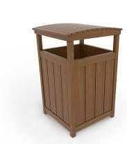 سطل زباله مناسب فضای باز ساخته شده از چوب