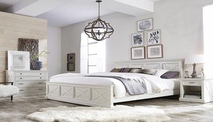 تخت خواب سفید رنگ چوبی