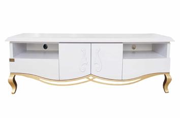 میز چوبی سفید رنگ مورد استفاده برای تلویزیون