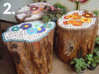 همه چیز راجع به تنه ی درخت -  ساخت میز موزاییکی با تنه ی درخت