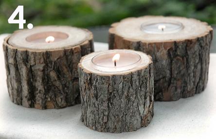 همه چیز راجع به تنه ی درخت -  ساخت جا شمعی با تنه ی درخت
