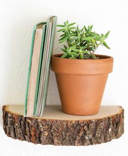 همه چیز راجع به تنه ی درخت -  ساخت قفسه ی کوچک کتاب با تنه ی درخت