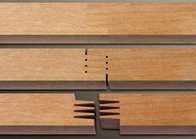 چوب های فینگر جوینت، نمونه ای از اتصال چوب های فینگر جوینت