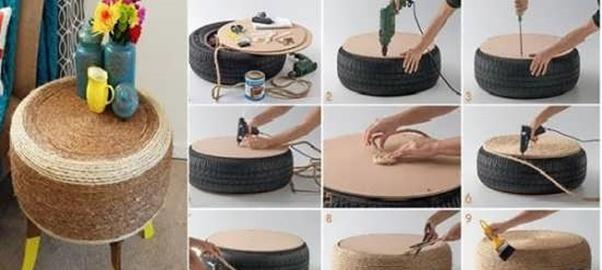 پاف مبل- درست کردن پاف با لاستیک و طناب کنفی