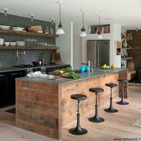 چوب طبیعی و اسلب در دکوراسیون لوکس چوبی +  سبک روستیک