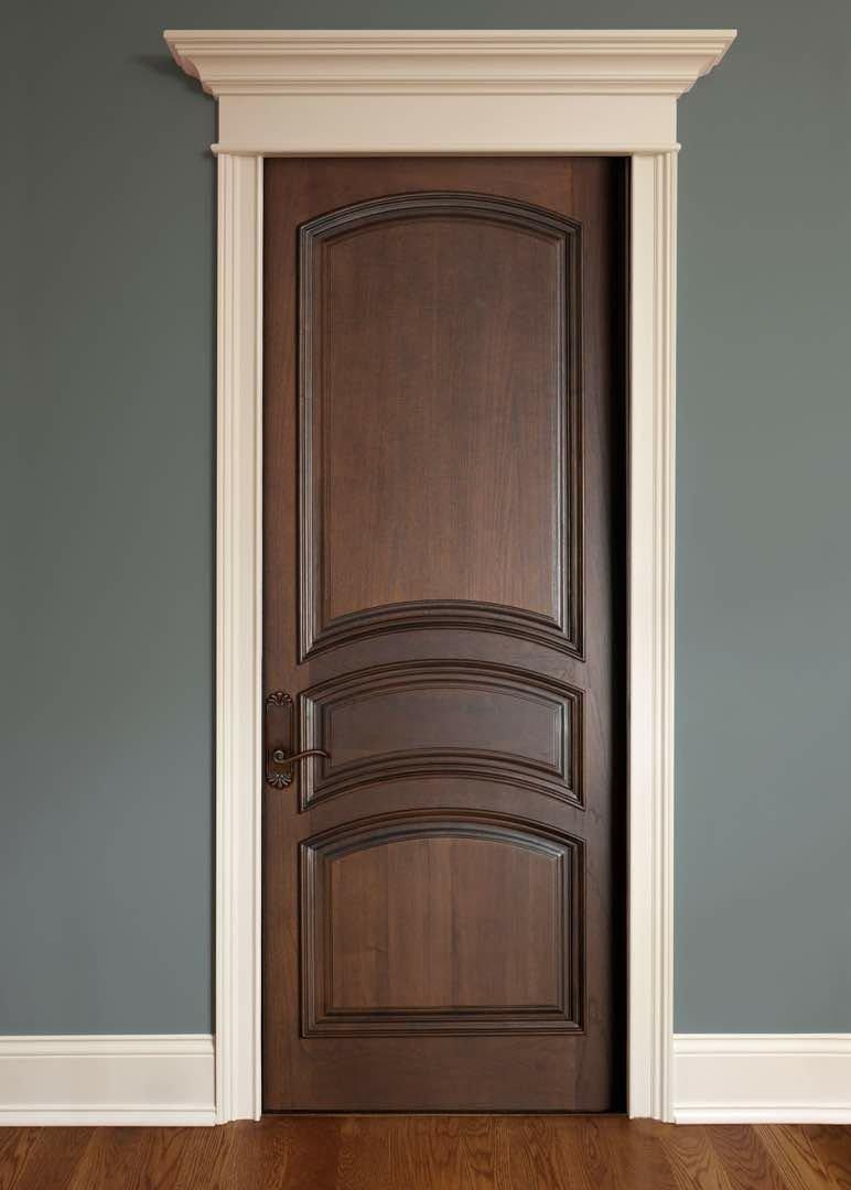 درب سه قاب چوبی