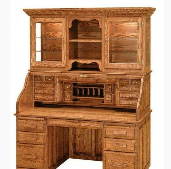 کتابخانه و میز تحریر رول تاپ چوب بلوط